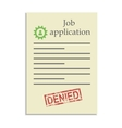 Job application with denied stamp vector image