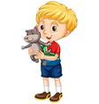 Little boy hugging a puppy vector image