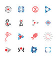 logo template red and blue icons set vector image vector image