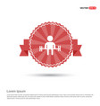 man with dumbbell icon - red ribbon banner vector image