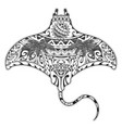 manta ray tattoo with ethnic elements vector image