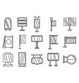 outdoor advertising building icons set outline