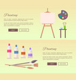 painting art supplies web banners icons vector image vector image