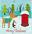 polar animals send letters to santa claus vector image vector image