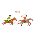 polo sports people with helmets riding horses vector image