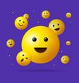 realistic detailed 3d falling emoji sign vector image