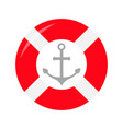 red lifebuoy ring ship anchor icon life buoy vector image vector image