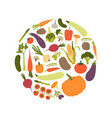 round decorative composition with fresh raw ripe vector image vector image