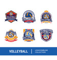 set volleyball badge design logo emblem vector image