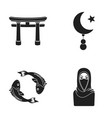 torii carp koi woman in hijab star and crescent vector image