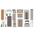 various city elements in winter time - multistorey vector image