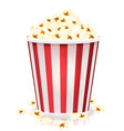 white and red striped bucket popcorn kernels vector image