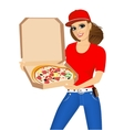 woman courier holding a hot pizza vector image vector image