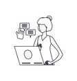 young woman using laptop with speech bubble vector image vector image