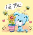 cute cartoon puppyl with flower vector image