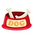 dog bowl with big bone vector image