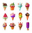 cartoon ice cream and sundae set vector image