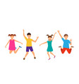 happy cartoon cheerful young girls and boys vector image