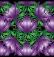 3d purple flowers seamless pattern vector image vector image
