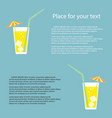 a glass of lemonade a soda with ice vector image vector image