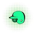 Baseball helmet icon comics style vector image vector image