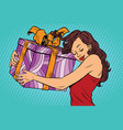 beautiful young woman hugging gift box vector image vector image