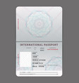 blank open passport template vector image vector image