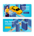 car share and taxi service banners concept vector image