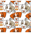 cartoon dog on white seamless pattern vector image