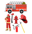 cartoon fire fighter set with objects vector image