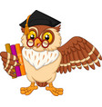 cartoon owl holding a book vector image vector image