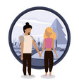 couple man and woman holding hands vector image