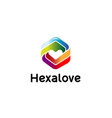creative hexagonal abstract heat logo vector image vector image