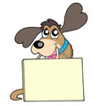 cute dog with sign vector image vector image