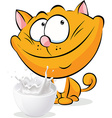 cute ginger cat sitting isolated with milk - vector image