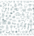 Cute hand drawn children drawings seamless pattern vector image vector image