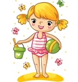 Cute little girl playing in the sand vector image vector image