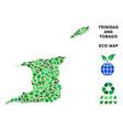 eco green mosaic trinidad and tobago map vector image vector image