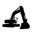 excavator silhouette vector image vector image