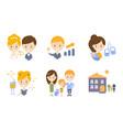 family lifestyle icons set wedding business vector image