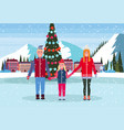 family skaters standing ice rink decorated vector image