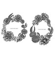 floral wreath black and white poppy flower vector image