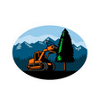 forestry mulcher tearing tree oval retro vector image