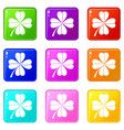 four leaf clover set 9 vector image vector image