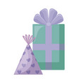 gift box present with hat party vector image vector image