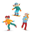girls ice skating snowboarding playing snowballs vector image