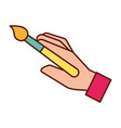 graphic designer hand with paint brush tool vector image