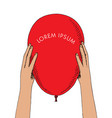 hands hold one red air balloon conceptual vector image