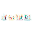 happy cartoon dancing family set on isolated vector image vector image