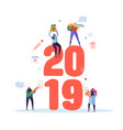 happy new year 2019 greeting card flat people vector image vector image